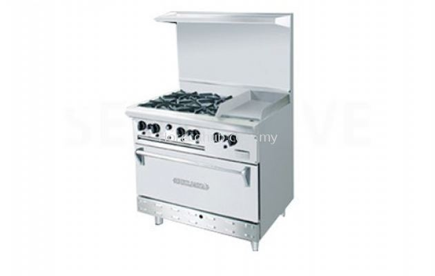 STAINLESS STEEL COMBINATION OPEN BURNER GRIDDLE WITH OVEN ( OB4GG1BWOH)