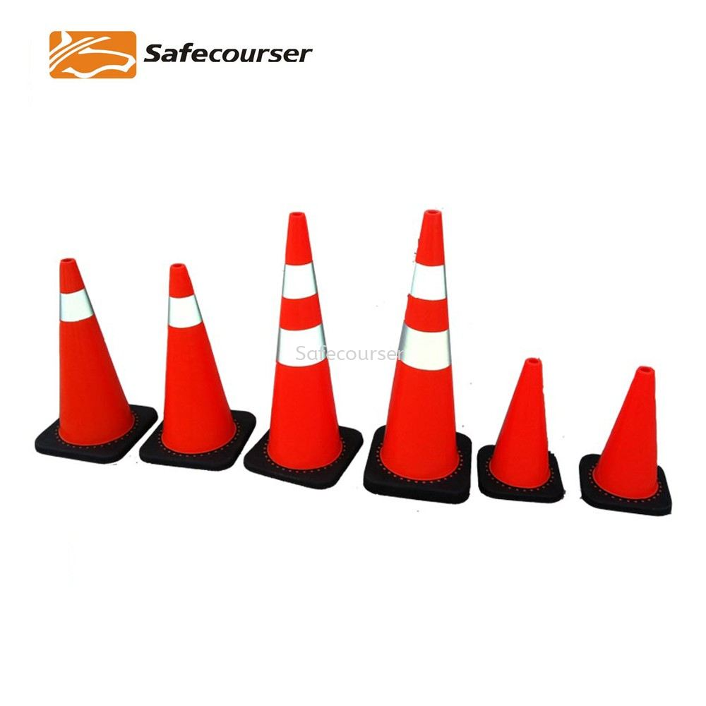 PVC Reflective Sleeve Traffic Orange Cone with Black Base