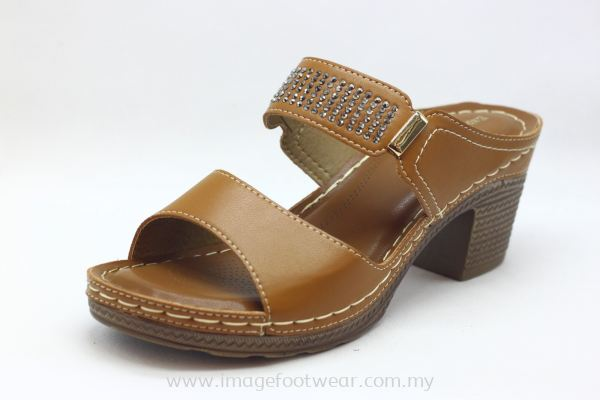 Lady Wider & Comfort Slipper- TF- 91111-6- TAN Colour