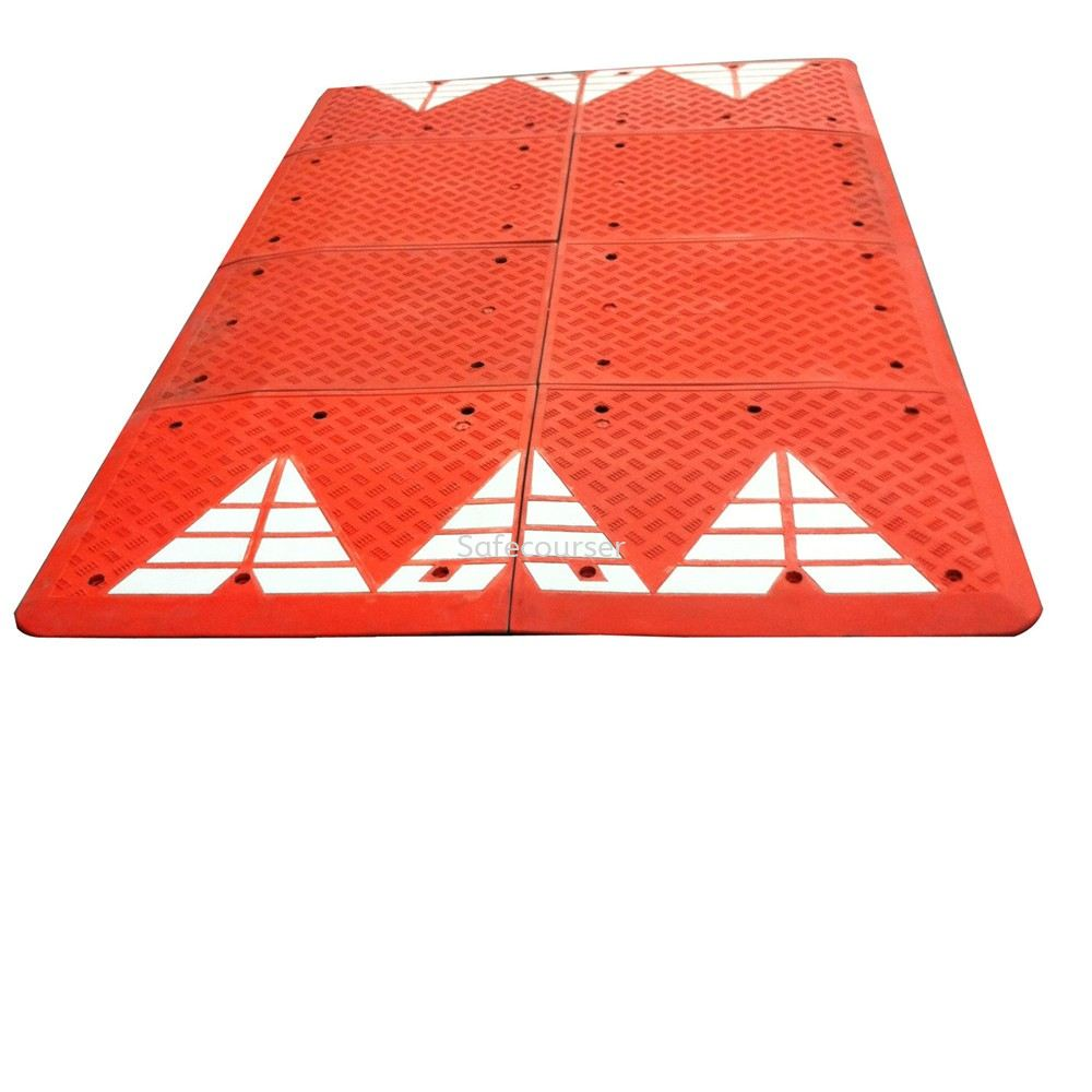SC-SH29 6pcs Into 1Set Red Ruber Speed Bump Cushion  For Plastic Speed Bump With Good Quality Roadway Saftey