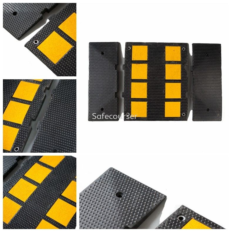 SC-SH22 470*600*30mm Cushion Rubber Road Humps For Roadway Saftey