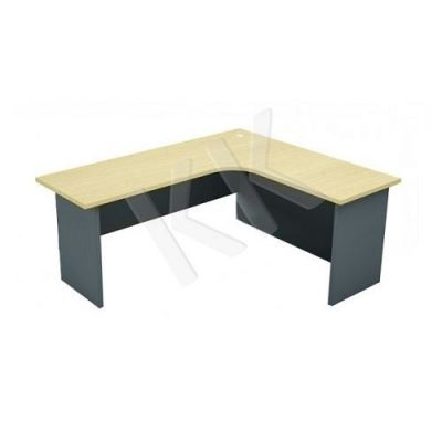 Maple & Dark Grey L-Shaped Office Table 1500W