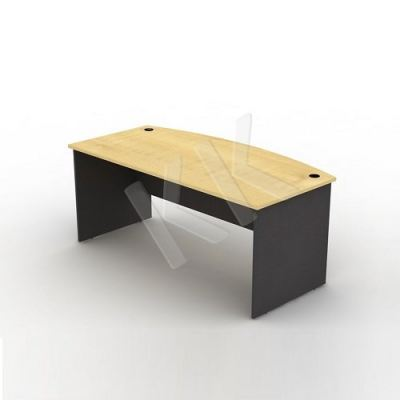 Maple & Dark Grey Curved Office Table 1800W