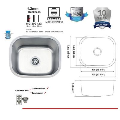 SL  5245  SUS304   SINGLE SINK BOWL-1.2MM -00533H