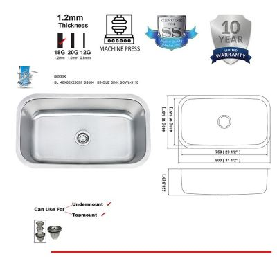 SL  4680  SUS304   SINGLE SINK BOWL-1.2MM -00533K
