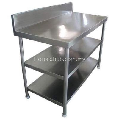 STAINLESS STEEL WORKTABLE WITH 2 TIER UNDERSHELF & BACKSPLASH