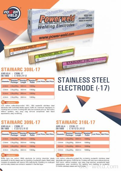 Powerweld STAINLESS STEEL ELECTRODE STAINARC -17 SERIES
