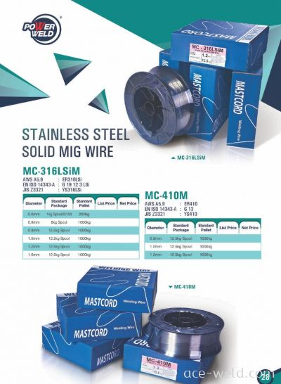 Powerweld STAINLESS STEEL SOLID MIG WIRE 316,410