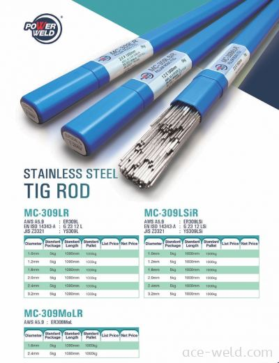 Powerweld STAINLESS STEEL TIG 309L, 309LSI, 309MOL