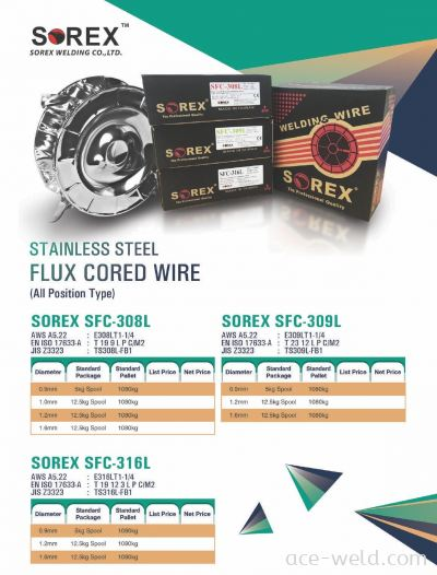 SOREX STAINLESS FLUX CORED WIRE 308L , 309L, 316L
