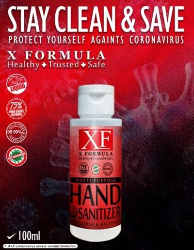 HAND SANITIZER X FORMULA LIQUID ALCOHOL 75 % 100ML (.      )