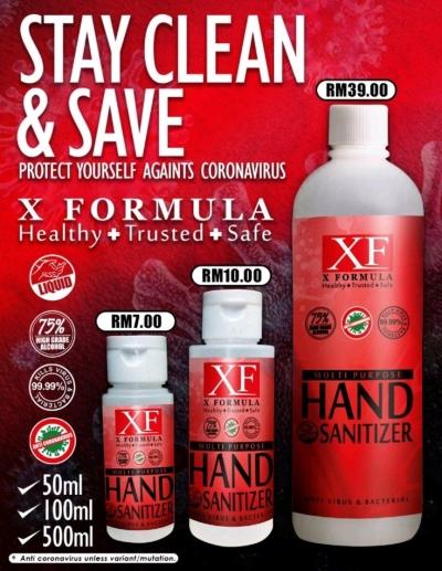 HAND SANITIZER X FORMULA LIQUID ALCOHOL 75 %500ML (.      )