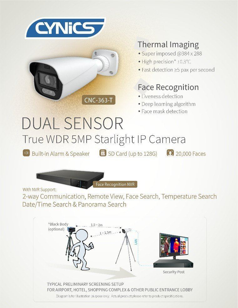 Cynics Dual Sensor Face Recognition IP Thermal Camera