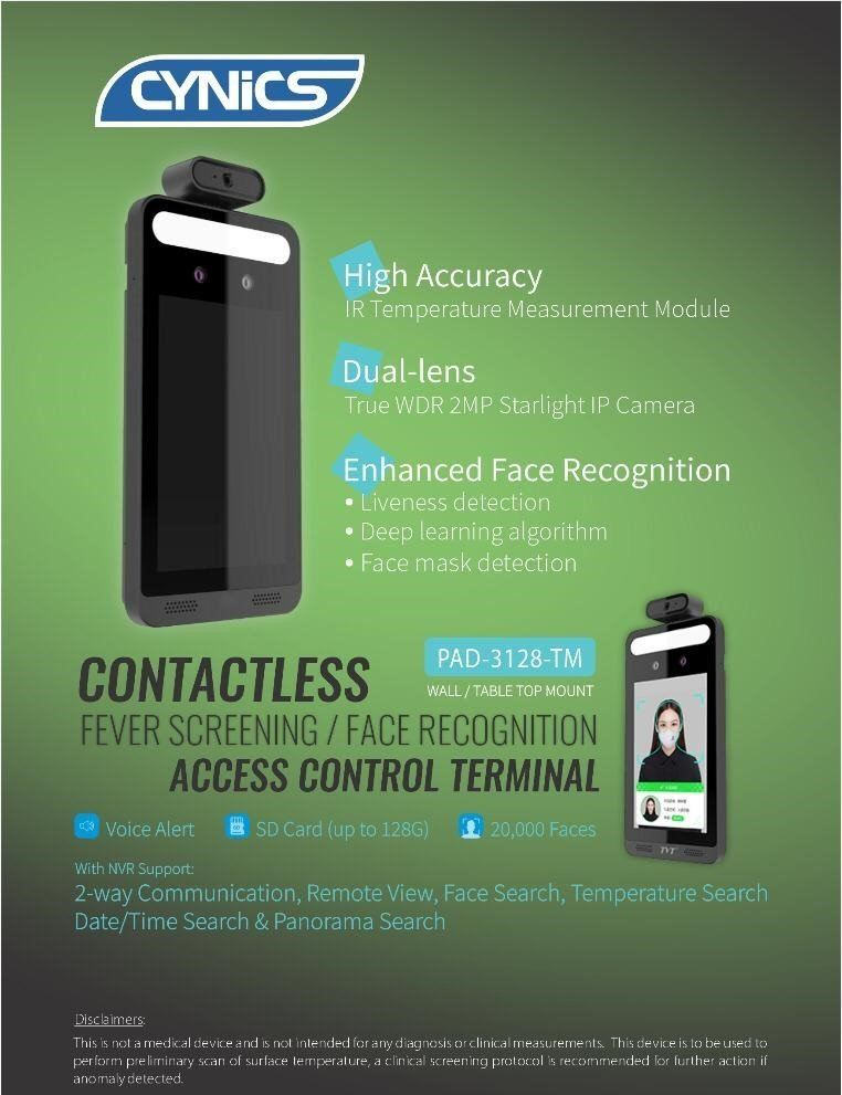 Cynics Contactless Fever Screening / Face Recognition Access Control Terminal
