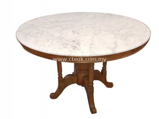 Kopitiam Table With Marble Top (Diameter 90 cm)