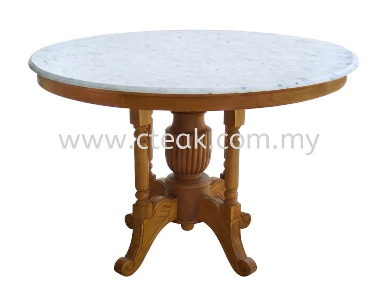 Kopitiam Table With Marble Top (Diameter 120 cm)