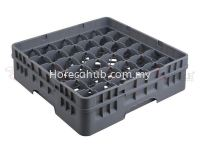 36 COMPARTMENT GLASS RACK WITH FULL DROP EXTENDER
