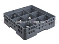 9 COMPARTMENT GLASS RACK WITH FULL DROP EXTENDER