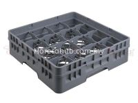 16 COMPARTMENT GLASS RACK WITH FULL DROP EXTENDER