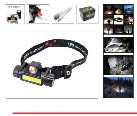 2 FUNCTION  - USB CHARGE  LED HEAD LAMP-00664M