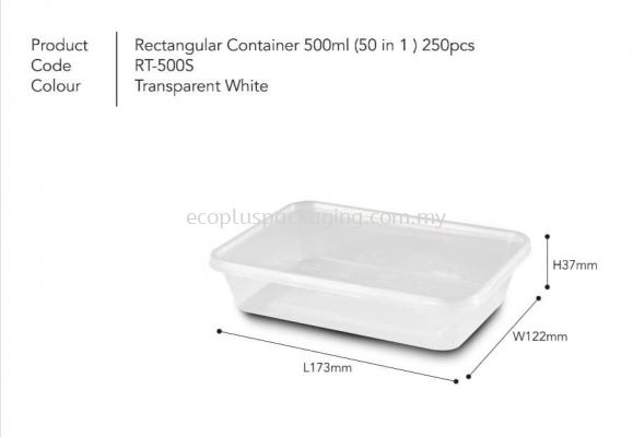 500ml Rectangle Container with Lid
