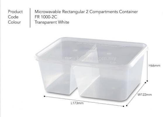 1000DS - 2 Compartment Rectangle Container with Lid