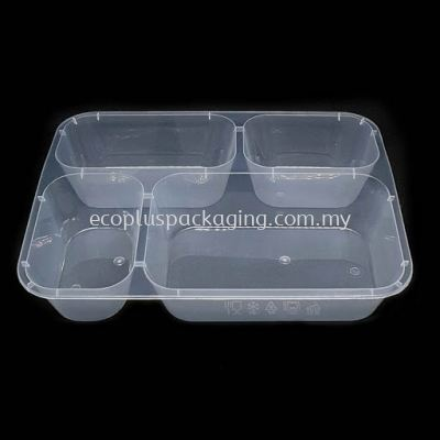 1200QC - 4 Compartment Rectangle Container with Lid