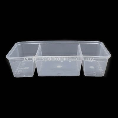 1300TC - 3 Compartment Rectangle Container with Lid