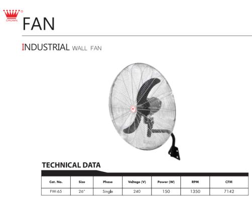 """CROWN INDUSTRIAL FAN, FW65 26"""" INDUSTRIAL WALL FAN"""