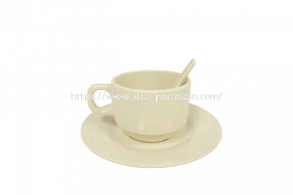3'S TEA CUP W/SAUCER + SPOON