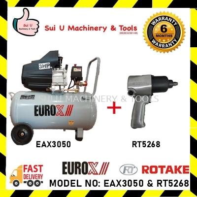 """Eurox EAX3050 50L 3HP Air Compressor with Rotake RT5268 1/2"""" Air Impact Wrench"""