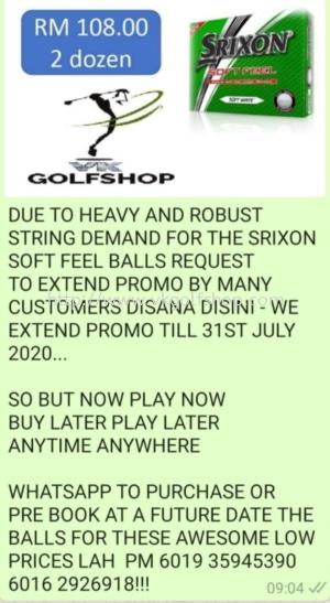 Srixon Soft Feel Golf Balls Promo EXTENDED BRO'S ST V K GOLF ONLY.DONT PERGI DISANA DISINI FOR THESE DEAL, TAK DAPAT!
