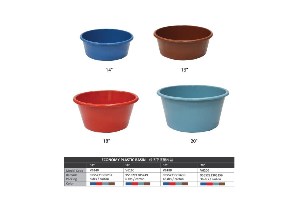 "(V6180) 18"" Economy Plastic Basin Dustpan, Basket & Bins Series"