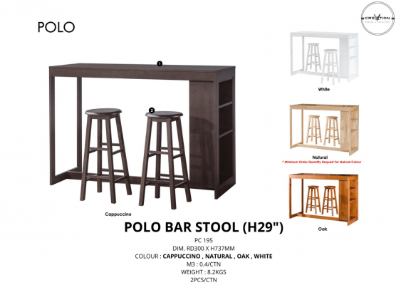 "Polo Bar Stool (H29"")"