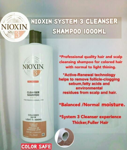 Nioxin System 3 Cleanser Shampoo for Color Treated Hair with Light Thinning 1000ML