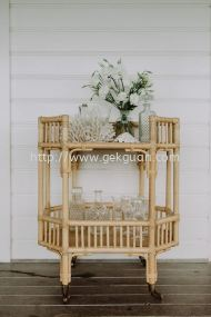 Rattan Bar Trolley - 001
