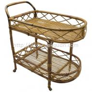 Rattan Bar Trolley - 002