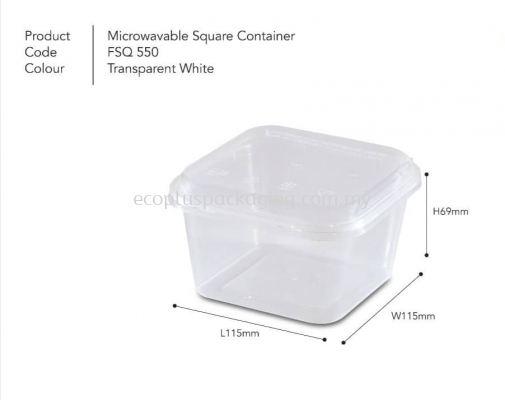 SQ550 Square Container with Lid