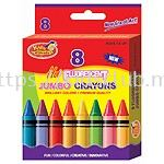 8CT JUMBO FLUORESCENT CRAYONS IN PRINTED BOX