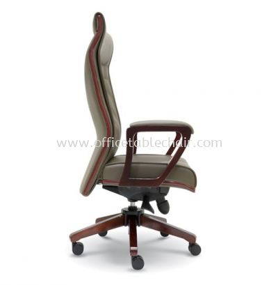 ACTOR DIRECTOR HIGH BACK LEATHER CHAIR WITH WOODEN TRIMMING LINE