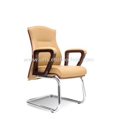 EMILY DIRECTOR VISITOR LEATHER CHAIR WITH WOODEN TRIMMING LINE