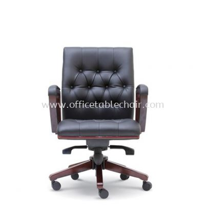 NETIZEN DIRECTOR LOW BACK LEATHER CHAIR WITH WOODEN TRIMMING LINE