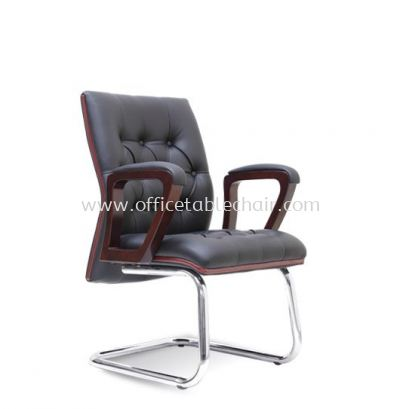 NETIZEN DIRECTOR VISITOR LEATHER CHAIR WITH WOODEN TRIMMING LINE