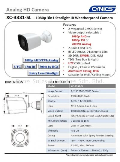 Cynics 2MP Entry Level Starlight IR Bullet Camera XC-3331-SL