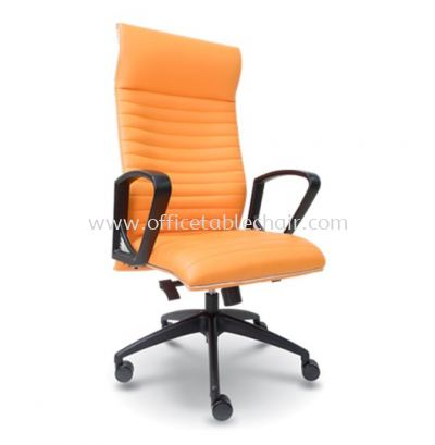 JOME EXECUTIVE HIGH BACK LEATHER CHAIR WITH CHROME TRIMMING LINE