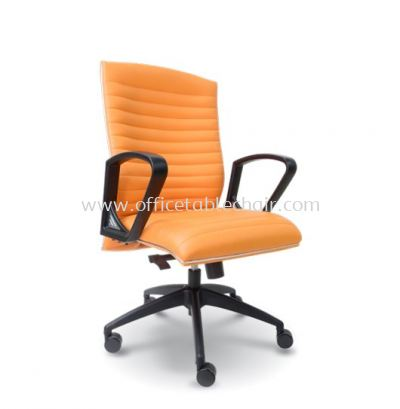 JOME EXECUTIVE MEDIUM BACK LEATHER CHAIR WITH CHROME TRIMMING LINE