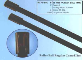 Stainless Steel Cable Ties Roller Ball Type - Coated