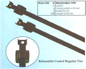 Stainless Steel Cable Ties Releasable Type - Coated