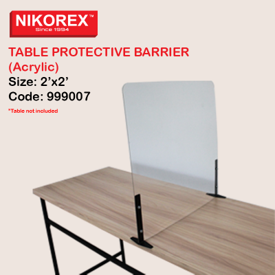 999007 - TABLE PROTECTIVE BARRIER (Acrylic) 2��x2��