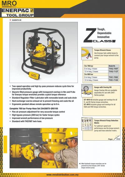 ZA4T-Series, Air Driven Torque Wrench Pumps
